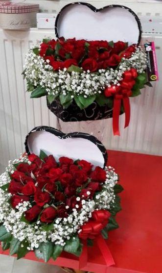Kalp İçinde Kutu Güller